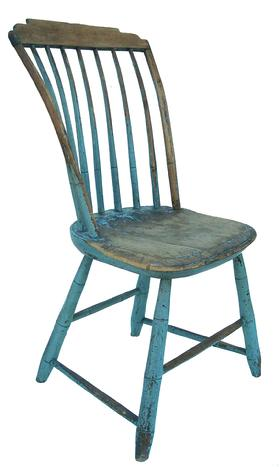 LL159 New England Side Chair With Original Blue Paint, Step Down Windsor  Chairs With Seven Spindles, Plank Seat And Splayed Bamboo Carved Turned  Legs. Circa ...