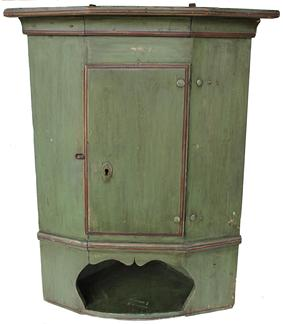"B180 18th century  Cobtinental Hanging Corner dated 1796 above the single door  with open shelf below, old green with red trim  paint, the Cupboard is all wooden peg construction, all original, Measurements are: 37 1/2"" tall x 20 1/2"" corner"