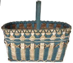 E533 Native American Indian Maine Penobscot Ribbon Blue and White Paint Decorated Basket Woven in a oval form with curling ( X) ribbons in center with blue and white ribs.Basket