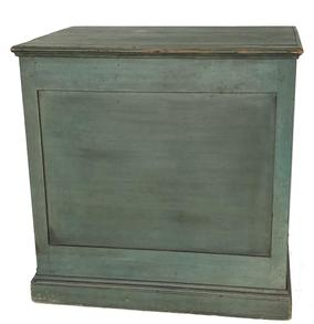 "E359 Very unusual form, New England circa 1830 cubicle shaped Quilt Chest with lift top, butt hinges, recessed front and side panels, all in a blue / green paint, resting on molded base. This Chest is very clean on the interior and all original. Measurements are: 31 3/4""x 22 3/4""x 31 3/4"""