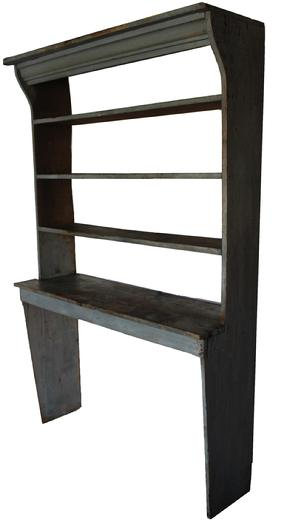 "C517 Rare early 19th century Stepback Bucket Bench/ Pantry,  a case of shelves, with original dry blue/ gray paint with shaped sides,applied cove molding to the front,  a great rare Pantry from a collection in New England circa 18 50 Measurements are : 52"" wide x 80 1/2"" tall x 16"" deep"