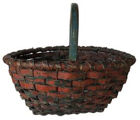 E500 Late 19th century Oak splint clam basket, with original blue and red paint, wire  holes in bottom for drainage, and worked up the sides for strength,  steam and bent notched handle, double wrapped rim  c 1890,