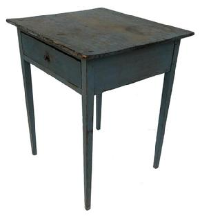 E14 Late 18th century Southern hepplewhite one drawer Stand, circa 1780  retaining it's original blue paint, with a dovetailed drawers,