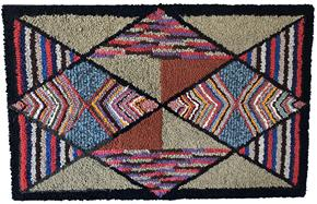"D451 Late 19th century  Pennsylvania geometric hooked rug, , with variegated diamonds and triangles, professionally mount and ready for hanging in outstanding condition 26"" x 40""."
