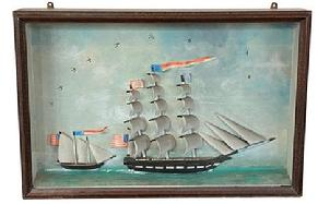 F124 19th Century American Glazed Full Rigged Schooner Diorama, circa 1860 The Framed Wood And Glazed Diorama Depicting, two, Three-Masted, Full Rigged Schooners