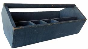 "E121 Late 19th century Tool Carrier/ Carpenter's Tote, wonderful worn weathered original blue paint. nice high shaped half moon ends , A deep well outfitted with sections for various tools. A slot is cut in one end for long saw blades. true Country Classic with beautiful blue paint Measurement are:  26"" long x 14 1/2"" wide x 11 1/2"" tall"