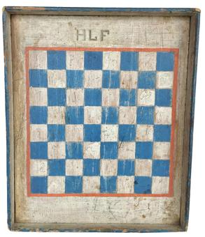 "D393 18th century New England outstanding Game Board with the original blue and white squares with a bittersweet red  band painted around squares, enclosed in a beautiful blue frame, held in place with tee nails which dates it to around 1790, HLF at the top of board Measurements are 15"" wide x 18 1/4"" tall x 2"" deep"