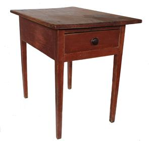 "C106  Late 18th century one drawer work table  with the original red paint, dovetailed drawer, thick  one board top  chamfered around edges to appear thinner than it is,held place with tee nails   30"" high x 23"" wide x 34"" deep"