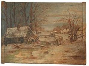F46 Early 20th century hand painted Winter snow scene on board of a Mill by a stream with a house in the background. Painted on a bread boar.d