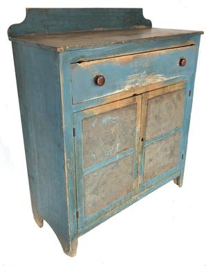 "E135 Mid 19th century,Jelly Cupboard/ Pie Safe in beautiful blue paint , hand punched tins of pin wheel  pattern, the wood is  pine and poplar. Cut nail construction. Pegged drawer  and applied  gallery back. the interior is nice and clean with the original white paint Measurements . 47.25""high. 40""wide. 16.25""deep."