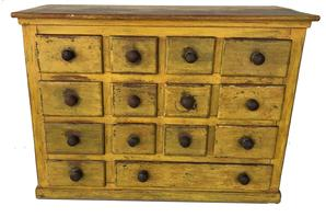 "E202  19th century fourteen drawer, Apothecary Cabinet /  spice cabinet , with beautiful yellow paint, very unusual drawer lay out, with having a lager drawer and small drawer on bottom row. The wood is walnut with  nailed  drawers,  Measurements are 9 1/8 deep x 20"" wide x 15"" tall"