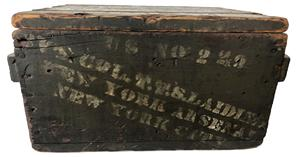 RM1010 Rare Civil war era original painted wooden ammo crate. Stenciled New York city arsenal 1000 rifle musket, U.S. no 229 Col. T.T.S. Laidley New York Arsenal New York City , From Arsenal Indianapolis  - 69 ( Caliber ) - Cartridges . The lid stenciled Hartley & Graham Dated 1862