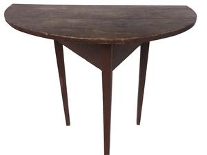 D567 Early 19th Century Demilune Table, Country Hall Table, Original Red  Paint York Co. Pennsylvania, Half round top raised on delicate hepplewhite tapered legs joined by tri part apron, square head nailed construction. measurements: 32 3/4� wide 26 1/2� tall  19 1/2� deep