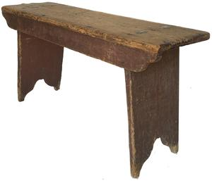 "E95   Early 19th country York County Pennslyvania double mortised splay leg Bench, unclean red painted  surface, nice cut out ends, one board square head nail construction, Measurements are: 37 1/4"" long x 19 1/2"" tall X 11 1/2"" deep"
