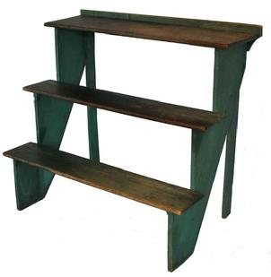 B110 19th century Plant Stand with beautiful original green paint softwood, cut-nail construction having three tiered shelves and retaining the original painted surface, circa 186