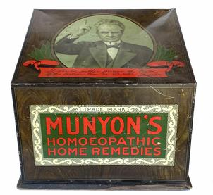 CG1 Rare Antique Munyon ' S Homeopathic Home Remedies General Store Counter Display,The American Art Works of Coshocton, Ohio produced this Munyon Home Remedy Company counter display case during the early 20th century.