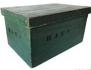 F24 19th century New England green painted Hats box, in the original green paint with the 'HATS' in black letters on all sides. This type of box was used in a General Store.  Nailed construction with square head nails.
