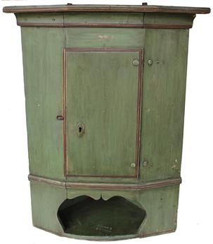 "B180 18th century  Cobtinental Hanging Corner Cupboard 1796 above the single door  with open shelf below, old green with red trim  paint, the Cupboard is all wooden peg construction, all original, Measurements are: 37 1/2"" tall x 20 1/2"" corner"