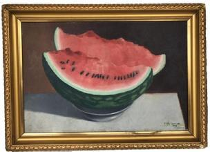 D263 Oil on board watermelon still life, signed Ollie Lavvick and dated 1908, in gold gilt frame very good condition