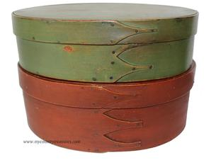 "C566  19th century pair of SHAKER PANTRY BOX. . Oval bentwood box, One  box has three fingers,  and old  green  paint Measures 10 1/2""long   x 3 1/4"" tall x 7 1/4"" wide  . The larger pantry Box has  four  fingers, copper tacks and points, good early  brick red patinated finish  , mea  10 1/2"" long x 4 1/4"" tall x 7 1/2"" wide Museum Quality"