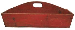 "U622 Pennslyvania  Red-Painted Tool Carrier, mid-19th c., nail construction,with sides slanting outward from a plank bottom, inset ends, and center divider with hand-hold measurments are 25 3/4"" long x 10 3/4"" wide x 9"" tall"