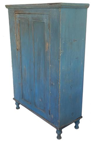 "F585 Early 19th century Lehigh Valley   Pennsylvania  single door  Milk Cupboard.,in original robin egg blue paint, two panel door all mortised and double pined. Resting on four high gracefully turned feet, applied double beaded molding around the base, the interior is clean old natural patinia , the back board are held in place with square nail   57-1/2""high. x 40-1/4""wide. x 15-1/2""deep."