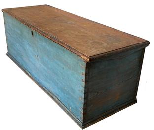 F183 Early 19th Century  AMERICAN SEA CAPTAIN'S CHEST In original blue painted surface,  one board pine dovetail construction, ditty box and bottle holder interior  measurements : 48� wide 17 1/2 tall  18� deep
