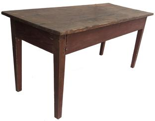 RM1052 Early Eastern Shore, Maryland one board top table with early red paint and hepplewhite legs.  Base is mortised and pegged.  Top is held in place with square nails.  Wood is yellow pine.  48 1/2 long� x 19 7/8� deep x 23 1/4� tall
