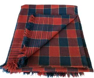"D450 ca. 1840; beautiful  Bucks County, Pennsylvania red and blue plaid overshot coverlet multiple shaft woven coverlet in red and blue wool  self-fringed bottom,   and a rolled loop down center seam,    80"" x 84""."