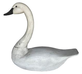 "B620 Maryland  full size white Swan, wooden  hand carved, maker unknown, original paint, small age crack to the neck Measurements are: 22"" long x 20"" tall x 7 1/2"" wide"