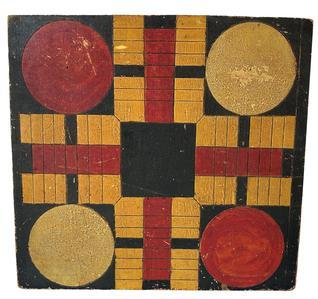 F256 Early Folk Art Parcheesi painted Gameboard New England, ca. 1860-1890. Pine. Bold color combination of strongly contrasting colors of Red and Mustard, with a black ground, lining, and mustard cross-hatching in the center circle.