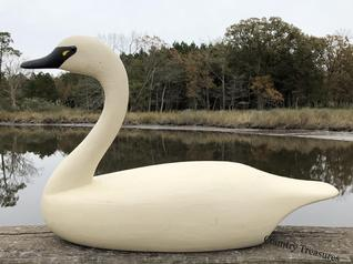 "A509 Easter Shore Maryland full size white Swan by A.J. Watson , original paint,  28"" long x 18"" tall x 9"" wide"