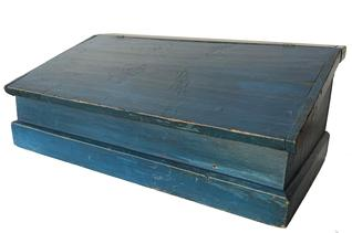 X386 19th century  blue table  -top Desk, New England, late 19th century, with  a lift hinged slant lid on a nail constructed box, the intrior is divided