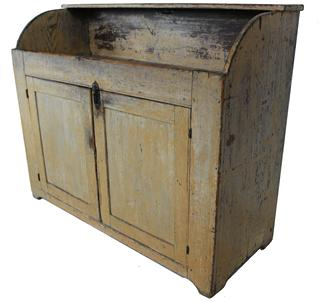 "C17   Summerset Co. Pennsylvania Drysink with the original mustard paint, open well, two doors with high back with a shelf all original. Measurements: 46 1/2"" wide x 18 1/2"" deep x 37"" tall"