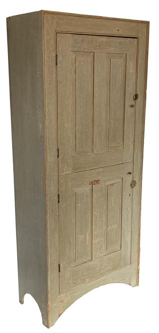 F176 Early 19th Century New England Wall Cupboard,Grey-Green Paint,  Fielded Raised Paneled Doors Circa 1800 A fine and unusual form featuring a split door with high arched cut-out feet. The case has a simple picture frame molding on front , and a single beaded edge around doors. The surface was painstakingly cleaned down to original surface history featuring grey-green paint; good dry surface!