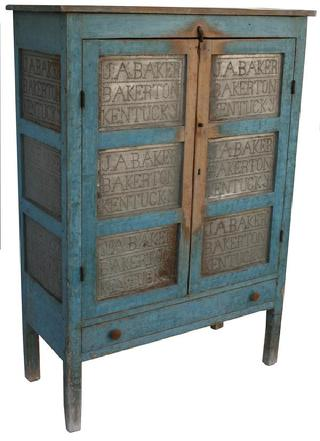 "Bakerton KY. original blue painted 12 tin  Pie Safe, with hand punched tins, in the form of a sampler J.A. Baker Bakerton, KY. located in Cumberland County, KY. circa 1850  the case and doors are mortised and pegged all original measurements are: 18"" deep x 42 3/4"" wide x 60"" tall x  60"" tall"