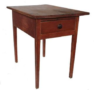 C106  Late 18th century one drawer work table  with the original red paint, dovetailed drawer, thick  one board top  chamfered around edges to appear thinner than it is,held place with tee nails  circa 1790 - 1810