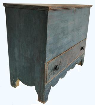"E505 Early 19th century Antique Blanket Chest over drawers in Blue Paint, Boldly Shaped Base Profile, New England, Circa 1820 White pine Rectangular top featuring applied molding over �Tee� nailed case raised on  tall elliptical cutout feet, (Length: 42""; height: 34""; depth: 18 1/2"