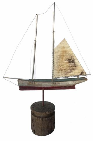 "G49 Early twenty century folk are boat weathervane,in it's original red and white paint., wooden hull with metal sails Measurements are 26"" long x 37"" tall x  7 1/2"" wide"