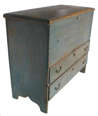"C515 18th century new England Chest over two drawers, with the original robin egg blue paint, lid is held in place with the original carter pin hinges., nice high cut out foot, dovetailed drawers, rose head nail construction. circa 1780-1790  18 1/2"" deep x 41 1/4"" wide x 35 1/4"" tall"