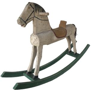 "E171 Late 19th century  wooden rocking horse, found in original paint and condition,  A pretty dappled Grey paint , solid wood, presumably pine, standing graciously, raring to go.. mounted on a green rocker  base.  Measurements are:47"" long x 9 3/4"" wide x 29 3/4"" tall"