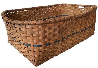 F138 Large Eastern Shore Maryland gathering basket or drying Basket. Natural patina with a dark blue band encompassing the basket. Heavy and very sturdy woven construction.  Measurements: 37� long x 25� wide x 13� tall