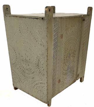 G32 19th century   Pennslyvania hanging  Pie Safe with  star pattern tins   circa 1850-70: Painted pine hanging pie safe,with beautiful hand punched tins panels,  that run completely around the case.The pewter  gray paint is the original 19th century surface,