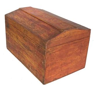 G45 19th century  rectangular Storage Box with domed hinged fitted  lid centered on  open interior . Top and all four sides ornamented alternating swirls of mustard  and red paint