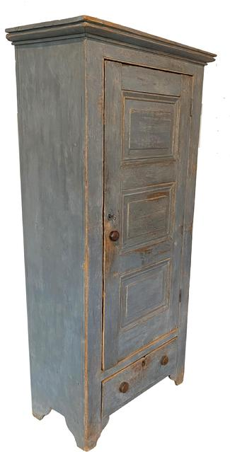 "F519 Early19th century Lancaster County Pennslyvania  original raised panel single door storage Cupboard   in it's original gray paint, Three raised panel door over a single  dovetailed drawer, high cut out shaped feet, signed and dated by maker on the inside of door.  72 1/2"" h., 31 1/2"" w.x 16 1/4"" deep   Provenance: A New Jersey collector."