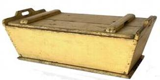 F393 Early 19th century Dough Box with original mustard paint the wood is pine, the dough box has slanted sides and removable top, circa 1820