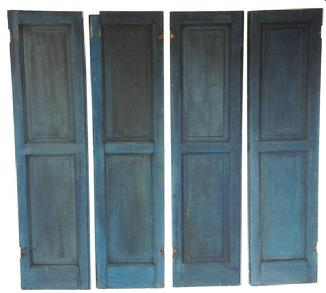 Early 19th century double raised panel Shutter, full mortised, with the outstanding original blue paint circa 1800-1820