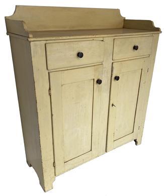 V298 Lancaster County Pennslyvania original painted Jelly Cupboard, applied dovetailed gallery, dovetailed drawers, nice high cut out foot, exception clean on the inside, all original, small chip to the corner of one drawer, taller than the average Jelly Cupboard circa 1850 --