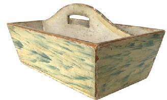 F66 Late 18th century New Hampshire, wooden Cutlery Box, in the original oyster white with blue painted decoration with a high arched cut out handle, splayed dovetailed case and one-board bottom held in place with small tee nails. Circa 1790 in original uncleaned surface.