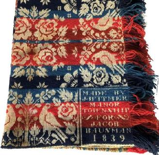 E383 Exquisitely woven heavy linen/wool Coverlet dated 1839 from Manor Township in Lancaster County, PA.  Two corner blocks read: �Made by J. Witmer For Jacob Bausman�.